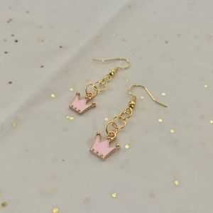 Tiny Pink Crown Dangle Earrings